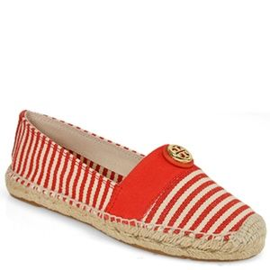Tory Burch Striped Beacher Red Natural Espadrilles